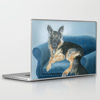 german shepherd Laptop & iPad Skins featuring German Shepherd Angus by Yvonne Carter