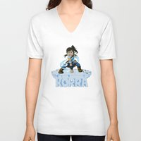 the legend of korra V-neck T-shirts featuring Korra by HelloTwinsies