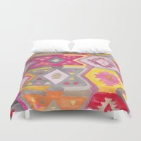 kilim Duvet Covers featuring Kilim Me Softly in Pink by Bee&Lotus