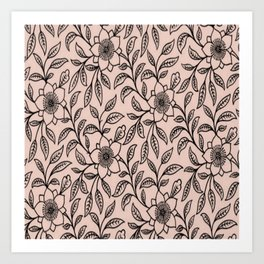 Vintage Lace Floral Pale Dogwood Art Print
