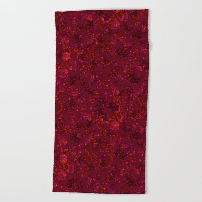 Red festive confetti. Red glitter. Beach Towel