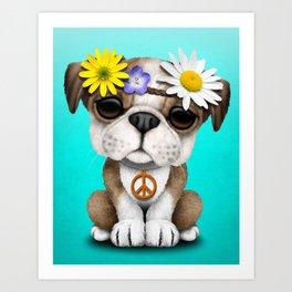 Cute British Bulldog Puppy Hippie Art Print