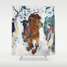 Galloping Horse by Edvard Munch Shower Curtain