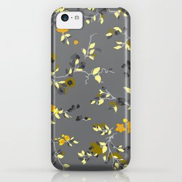 floral vines - greys, mustards & greens iPhone Case