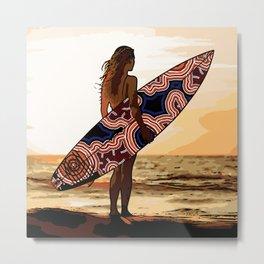 Authentic Aboriginal Art - Surfs up Australia Metal Print
