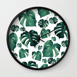 Tropical Monstera Pattern #3 #tropical #decor #art #society6 Wall Clock