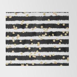 Modern black watercolor stripes chic gold confetti Throw Blanket