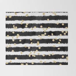Modern black watercolor stripes chic gold confetti Throw Blanket