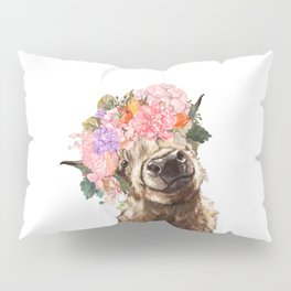 Highland Cow with Flower Crown Pillow Sham