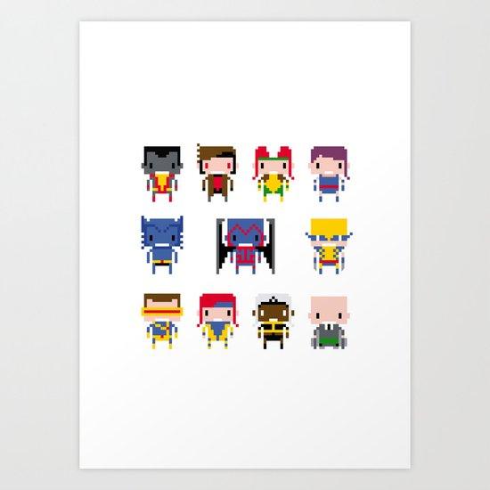 Pixel X-Men Art Print