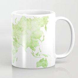 Green watercolor world map Coffee Mug