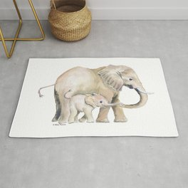 Mom and Baby Elephant 2 Rug