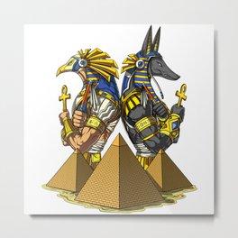 Gods Anubis Ra Egyptian Pyramids Metal Print