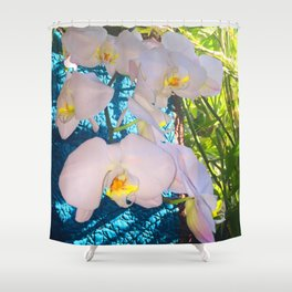 Pink, White and Yellow Orchids Shower Curtain