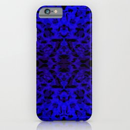 Mirror ornament of blue spots and velvet blots on black. iPhone Case