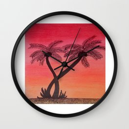 Dusk and the palm trees Wall Clock