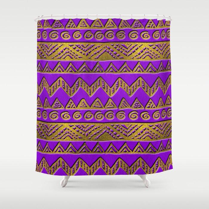 Ethnic  Golden Pattern  Swirl on Purple Leather Shower Curtain
