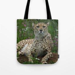 Cheetah Amidst Spring Flowers Tote Bag