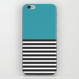 Half Striped Gray - Solid Turquoise iPhone Skin