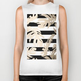 Simply Tropical Palm Leaves on Stripes Biker Tank