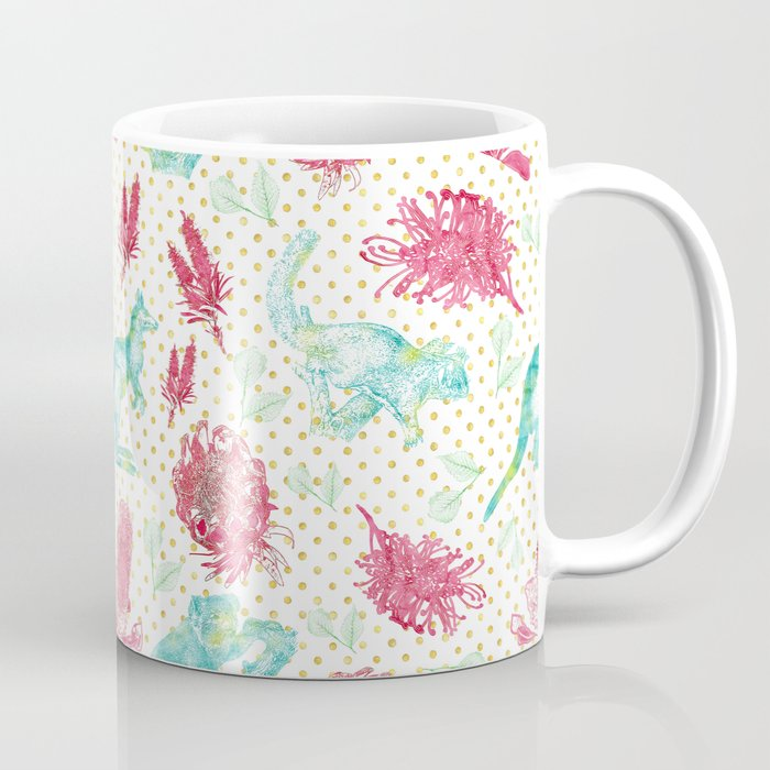 Beautiful Australian Animals And Flowers On Gold Polka Dots Coffee Mug