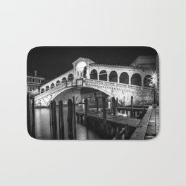 VENICE Rialto Bridge at Night | Monochrome Bath Mat