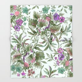 mint tropical floral Throw Blanket