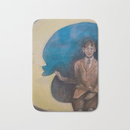 Watercolor Portrait of Boy on a Crescent Moon Bath Mat