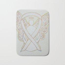 White Awareness Ribbon Angel Art Painting Bath Mat