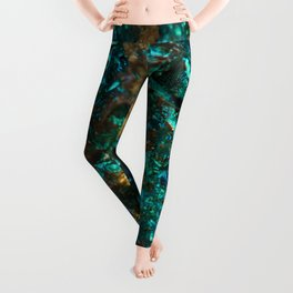Teal Oil Slick and Gold Quartz Leggings