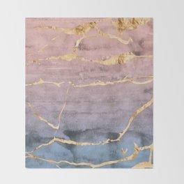 Watercolor Gradient Gold Foil Throw Blanket