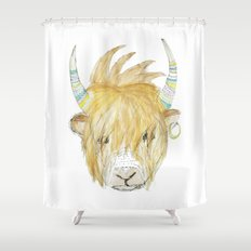Yakety Yak Striped Illustration  Shower Curtain