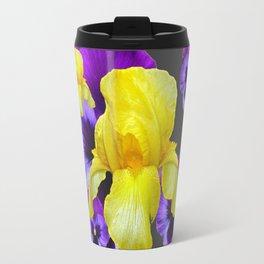 YELLOW IRIS PURPLE & WHITE PANSY GARDEN ART Travel Mug