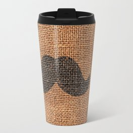 Black Funny Mustache on Brown Jute Burlap Texture Travel Mug