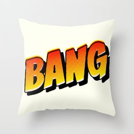 halftone comic book sound effect in pop art style Throw Pillow
