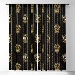 Halloween Gold Sugar Skulls on Barbed Wire Blackout Curtain