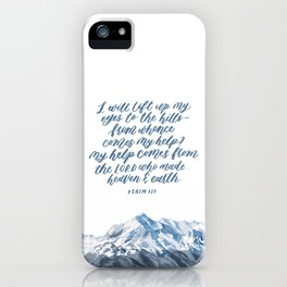 Mountain and bible lettering iPhone Case