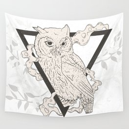 Mystic Owl in Smoke - Vintage Magick Wall Tapestry