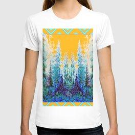 Western Gold  Modern Art Mountain Trees Blue  Art T-shirt