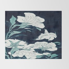 JAPANESE FLOWERS Midnight Blue Teal Throw Blanket