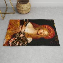 Frank Cadogan Cowper (1877-1958) - Title: VANITY - Date: 1907 - Style: Romanticism (Pre-Raphaelites) - Genre: Portrait - Media: Oil on canvas - Digitally Enhanced Version (1000 dpi) Rug