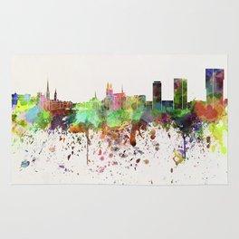 Zurich skyline in watercolor background Rug