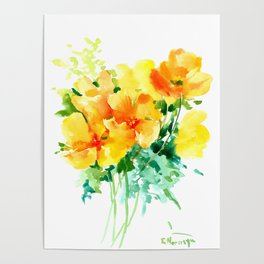California Poppies, floral home decor Poster