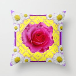Yellow & Lilac Color Shasta Daisies & Fuchsia Pink Rose Pattern Throw Pillow