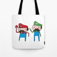 mario bros Tote Bags featuring Mario Bros. by Justin Temporal