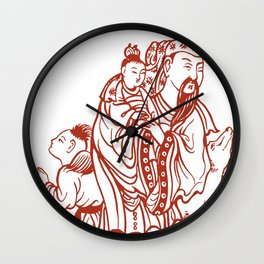 Japanese Father Son Daughter and Dog, Vintage illustration Wall Clock