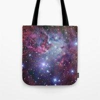 nebula Tote Bags featuring Nebula Galaxy by RexLambo