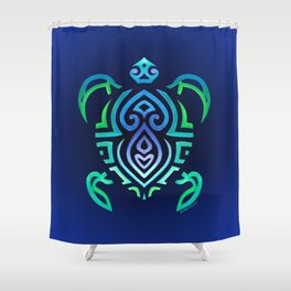 Tribal Turtle Ombre Background Shower Curtain