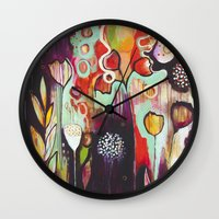 """flora bowley Wall Clocks featuring """"Release Become"""" Original Painting by Flora Bowley by Flora Bowley"""