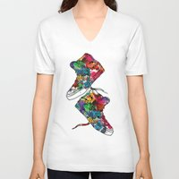 sneakers V-neck T-shirts featuring Paint sneakers by Cindys
